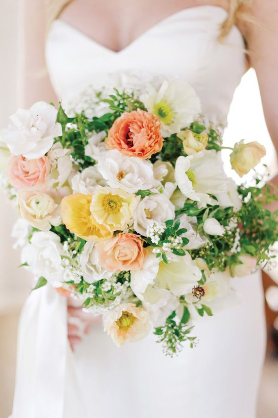 peach, butter yellow (just a subtle pop), green, and white bouquet: