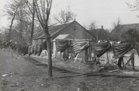 Een waslijn, volgehangen met kledingstukken. De kleding hangt in het voorjaarszonnetje te luchten. Rechts gestreepte boven- en onderrokken. Links rokken en kerkschorten. 1944 #Overijssel #Staphorst
