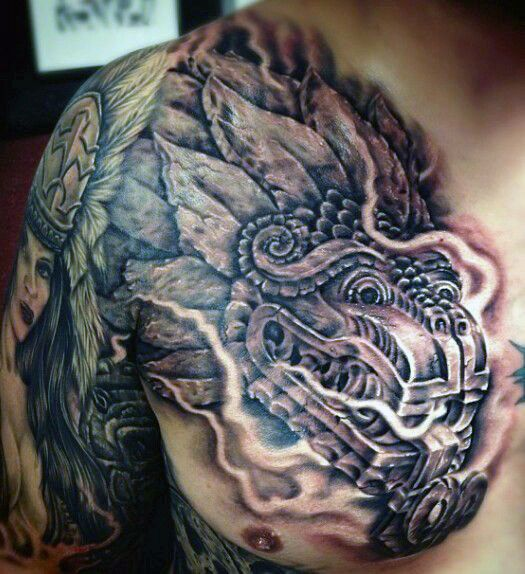 80 Aztekische Tattoos Fur Manner Alte Stammes Und Krieger Entwurfe Mann Stil Tattoo Aztec Tattoo Aztec Tattoos Aztec Tattoo Designs