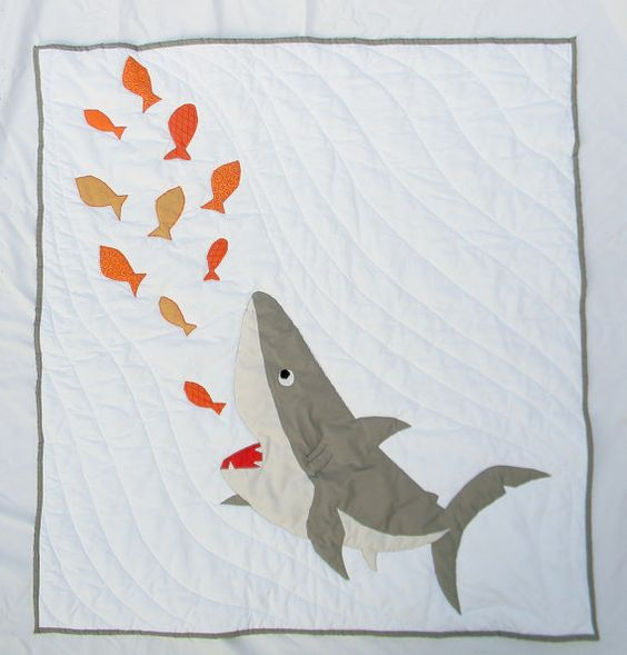 Homemade baby boy crib quilt - Nautical themed shark quilt or blanket - Bedding - Custom made to order: