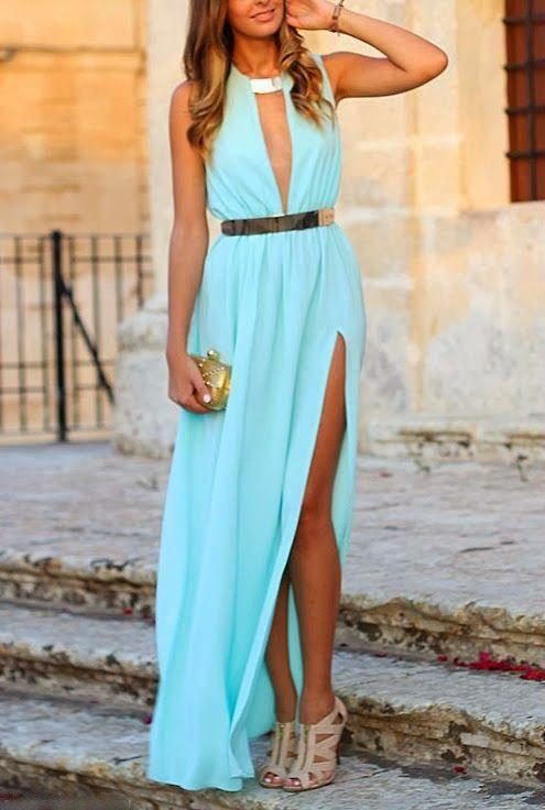 Lovely turquoise blue stylish maxi dress - My Style - Pinterest ...