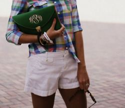 Posh Prep: White Shorts, Summer Outfit, Monogrammed Bag, Kelly Green, Monogrammed Clutch, Green Monogrammed