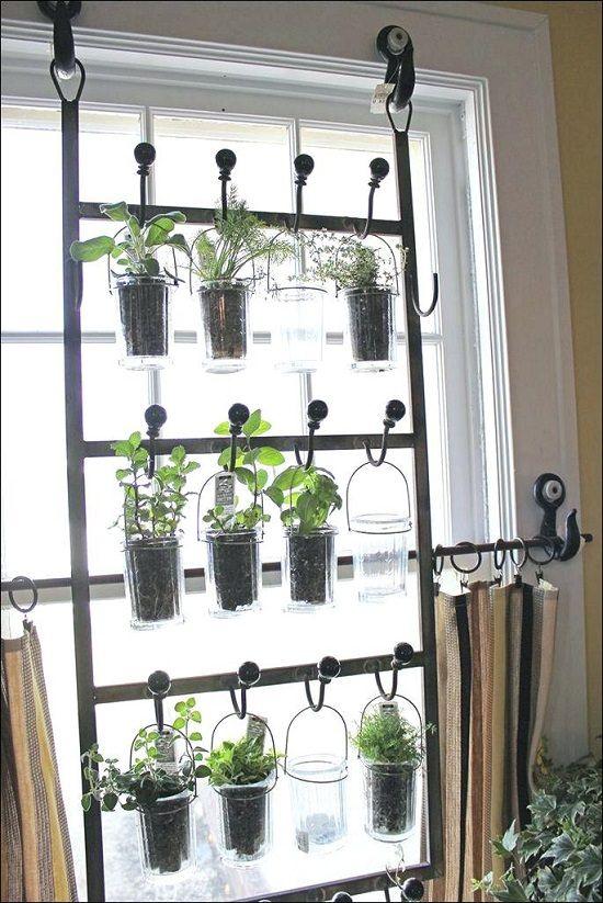 hanging planters made of jars and metal for indoor garden #gardenIdeas #garden #gardening #plants #homeDecor #indoor #verticalGarden