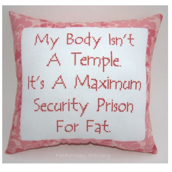 Funny Cross Stitch Pillow Cross Stitch Quote Salmon by NeedleNosey, $20.00: