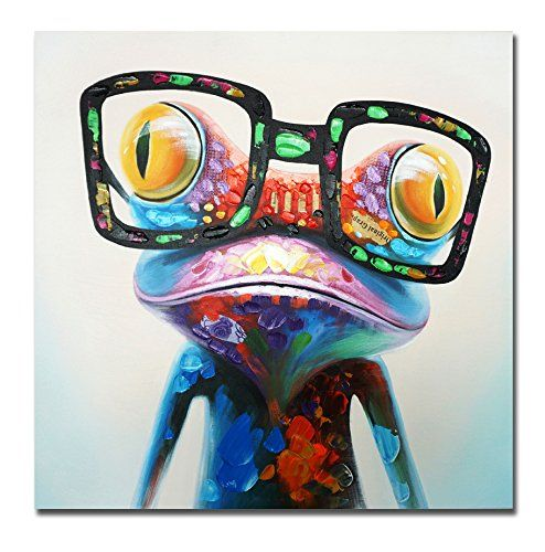 Frameless The Frog With Glass Animal Wall Art Picture Canvas Painting Home Decor