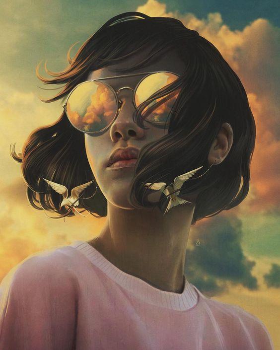 Las ilustraciones tienen un gran poder de inspiración para sesiones de fotos, esta es una ilustración de una mujer, hermosos colores y forma.