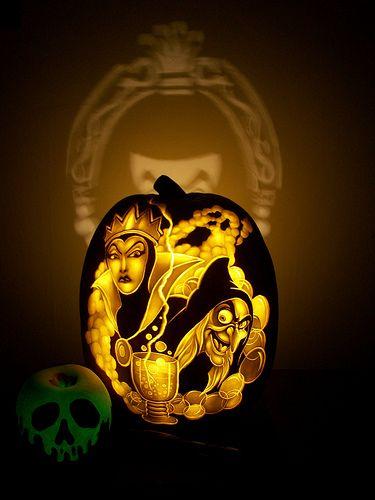 Disney Evil Queen/ Wicked Witch carved pumpkin by Dan Szczepanski