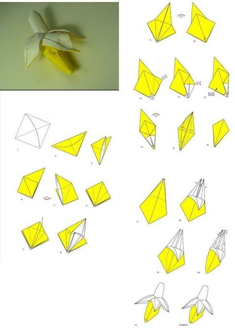 Fold origami paper craft banana step by step diy tutorial for Paper craft step by step