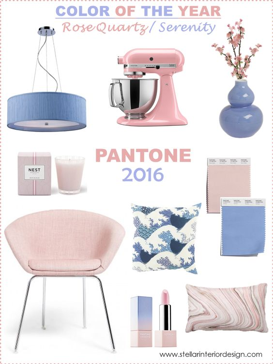 Pantone Color of the Year 2016, Color Trends for home, Rose Quartz, Serenity, Home decorating ideas, http://www.stellarinteriordesign.com/pantone-color-of-the-year-2016: