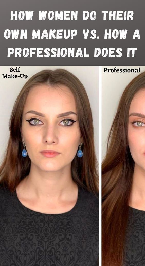 30 Pics Of How Women Do Their Makeup Vs A Professional In 2020 Homemade Makeup Putting On Makeup Hair Hacks