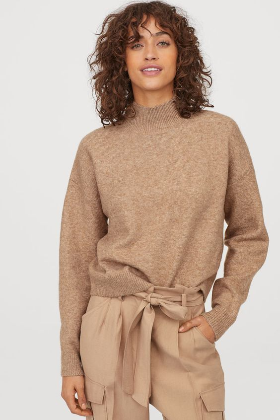 Knit Mock-turtleneck Sweater - Beige melange