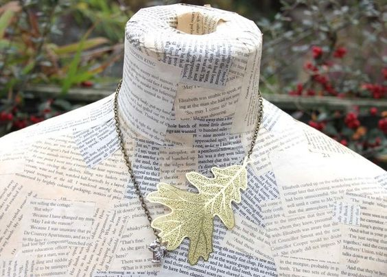 Squirrel and Leaf Autumn Necklace £12.50