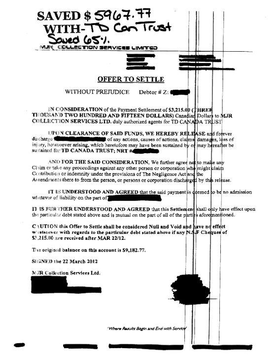 Another Debt Settled at CCDRCA TD BANK Settlements Pinterest - master settlement agreement