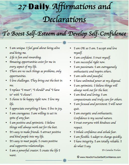 Daily affirmations, boost self esteem, develop self confidence