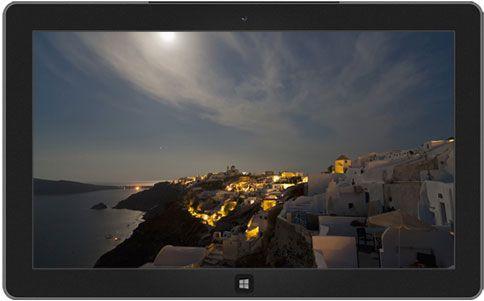 View of Oia at full moon, Thira (Santorini), Cyclades, Greece