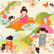 Alexander Henry japanische Mädchen Stoff orange grün