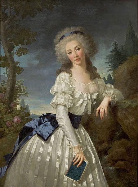 Portrait d'une lady avec un livre à côté d'une rivière, 1785 Antoine Vestier