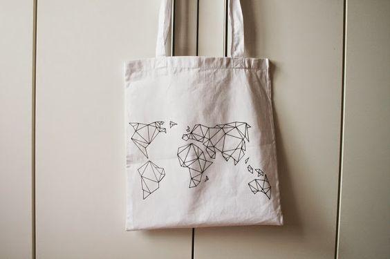 DIY ◦ Geometrische Landkarte auf Jutebeutel