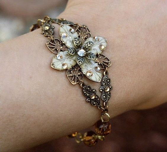 FREE matching earrings Ivory flower bracelet - weddings jewelry bridal jewelry ivory flower everyday wear jewelry via Etsy