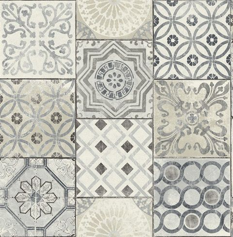 Rn71400 Patchwork Tiles Traditional Wallpaper Jaipur 2 Collection Patchwork Tiles Moroccan Tile Tile Wallpaper