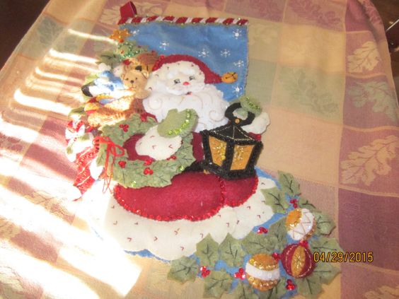 "Bucilla completed 18"" felt stocking ""Christmas Joy "" by HandmadebySrc on Etsy https://www.etsy.com/listing/231611712/bucilla-completed-18-felt-stocking"
