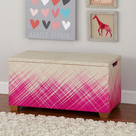 Hot Pink Color Weave Toy Box from @The Land of Nod's Fall Collection - LOVE! #kidsroom #storage