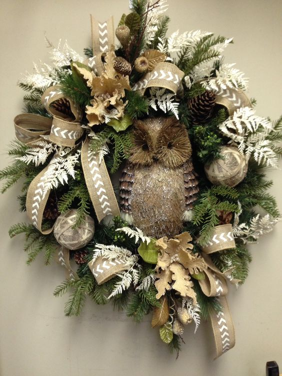 Owl christmas wreath:
