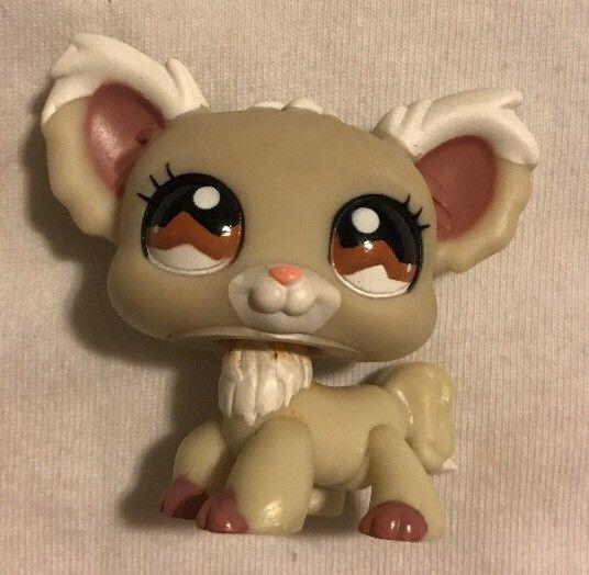Littlest Pet Shop 1199 Cream Tan White Chihuahua Dog Brown Eyes