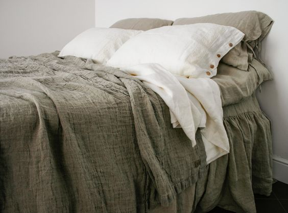 Linen throw natural rustic style bed cover stonewashed di mooshop