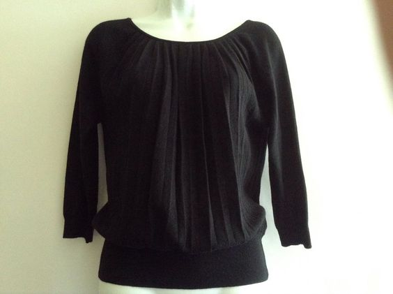 Ann Taylor Loft Sweater Top Black Ribbon Back XS  #AnnTaylorLOFT #BoatNeck