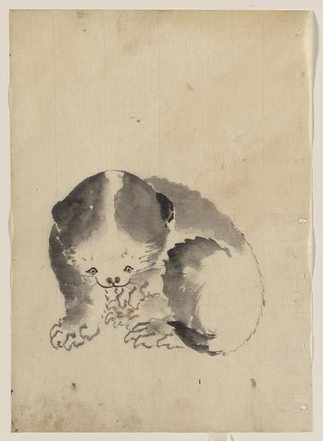 A cat cleaning its claws | Hokusai Katsushika