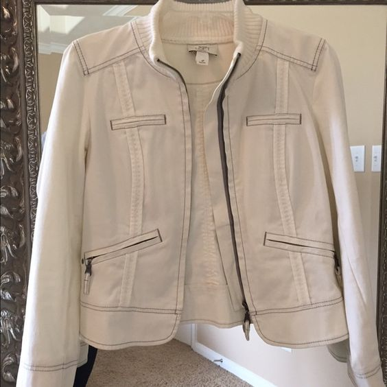 Ann Taylor Loft off white jacket Great condition. Off white Ann Taylor Loft jacket with grey stitching. Jackets & Coats