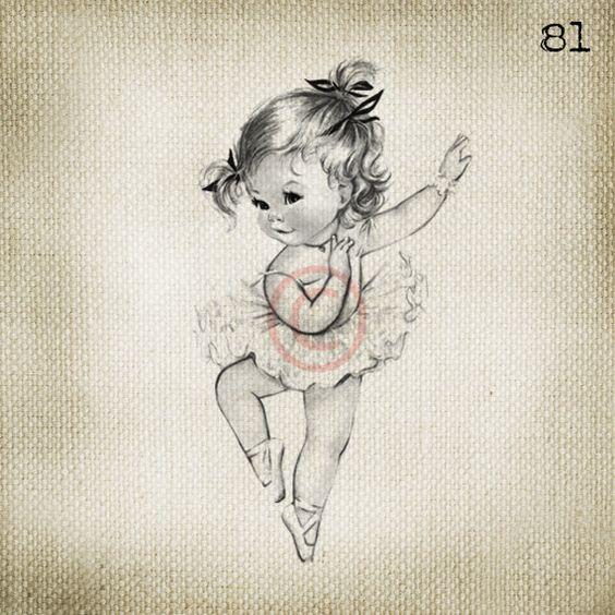 Adorable Vintage Baby Ballerina Girl LARGE Digital Vintage Image Download Sheet Transfer To Totes Pillows Tea Towels T-Shirts. $2.00, via Etsy.