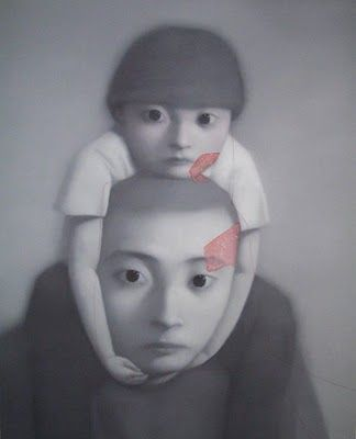 "Zhang Xiaogang, Bloodline series.He said: ""On the surface the faces in these portraits appear as calm as still water, but underneath there is great emotional turbulence. Within this state of conflict the propagation of obscure and ambiguous destinies is carried on from generation to generation."""