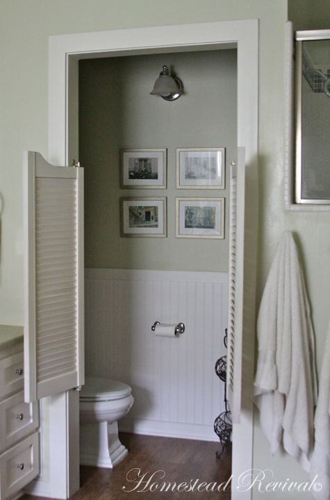 Homestead Revival The Farmhouse Master Bath Water Closet Cafe Door Color Bathroom Design