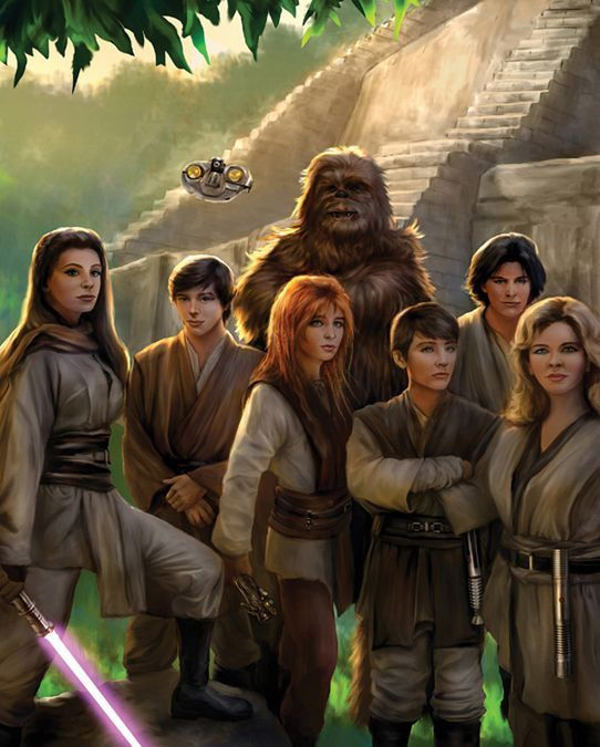 Tenel Ka surrounded by some of her fellow Jedi Apprentice friends
