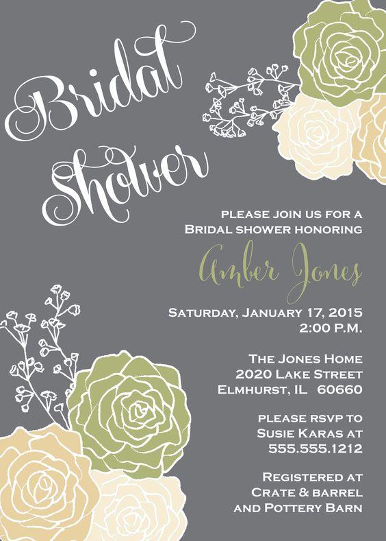 Sage Green, Beige, Gray Bridal Shower Invitation