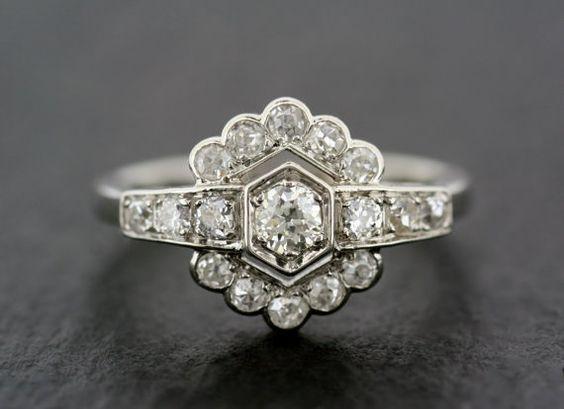 Art Deco bague de fiançailles - bague de fiançailles ancienne - bague de fiançailles Unique