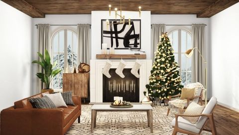 These Christmas Zoom Backgrounds Will Make You Feel Like You Re Living In A Hallmark Movie Christmas Living Rooms Christmas Zoom Backgrounds Holiday Living Room Cozy living room zoom background