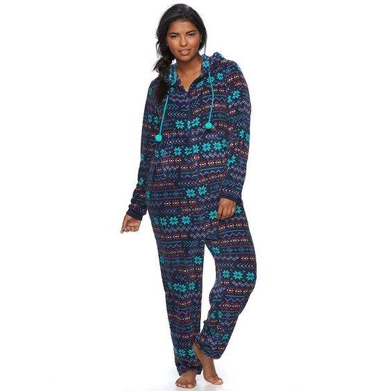 Juniors' Plus Size SO® Pajamas: Plush Hooded One-Piece Pajamas ...