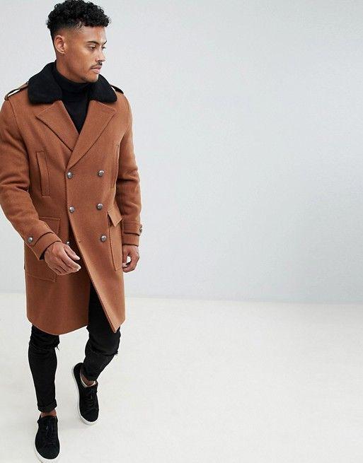 Asos Design Wool Mix Trench Coat With, Asos Trench Coat Men