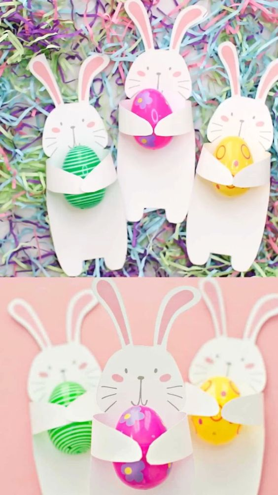 Get the printable template to make this cute and easy Bunny Holding Easter Egg treats. A fun Easter paper craft for kids! #hellowonderful