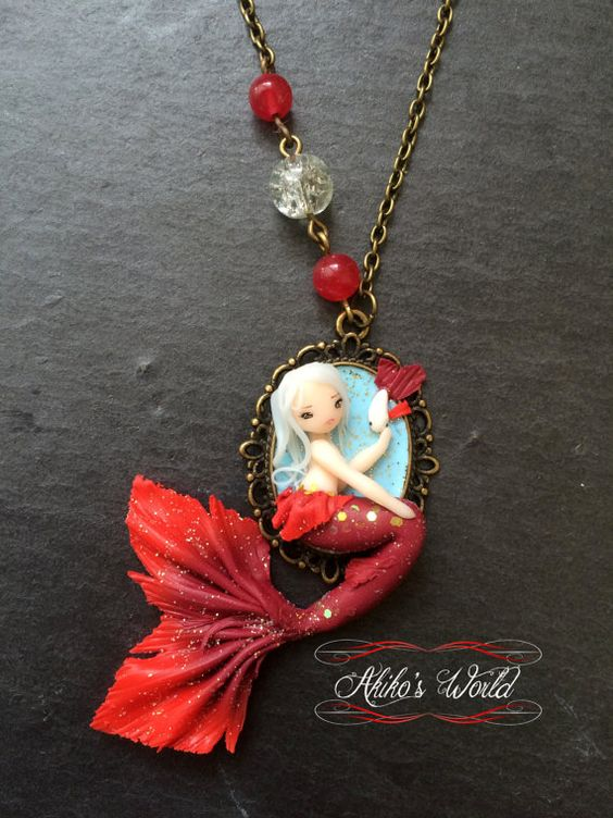 Tiny red mermaid on her cameo - Unique necklace model - Polymer clay chibi…