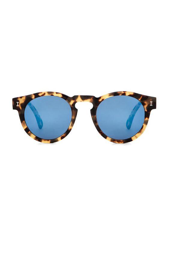 ray ban round tortoise shell sunglasses  illesteva leonard in tortoise & blue lense