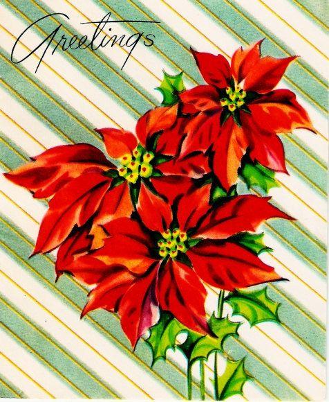 Vintage Christmas Card Pretty Red Poinsettias On Stripes