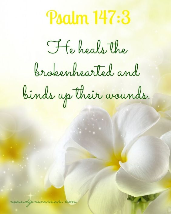 "Psalm 147:3 ""He heals the brokenhearted; He binds up their wounds."""