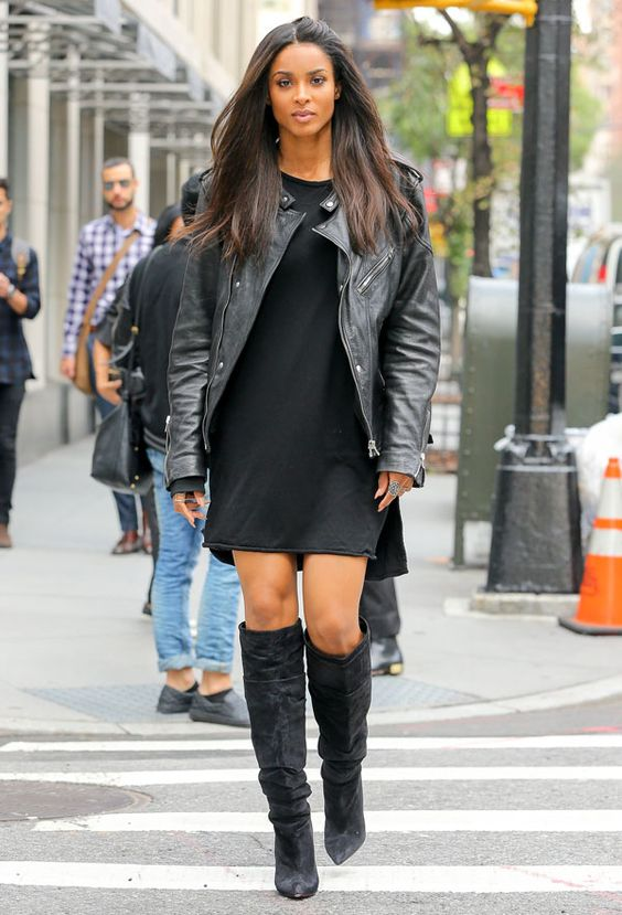 ciara-street-style-black-dress-otk-boots-leather-jacket: