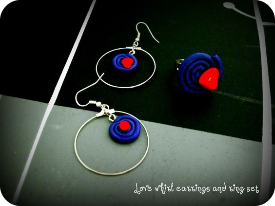 Love whirl earrings and ring set. Made with glamour blue and bright red cernit.