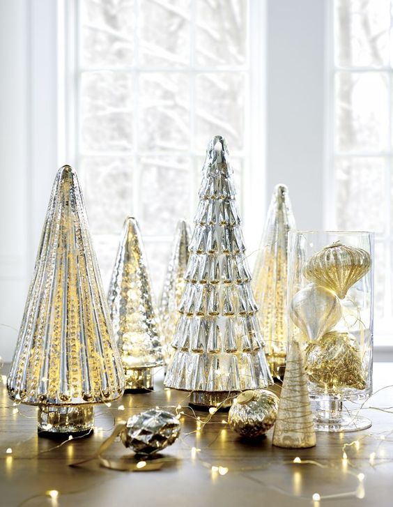 Antiqued Mercury Glass Tall Lit Tree | Crate and Barrel