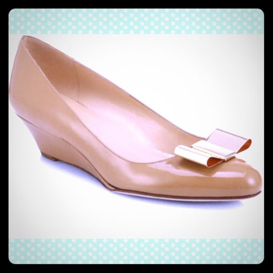 """HP @janet0103Kate Spade Roxana Patent Wedges Love these! A patent-leather wedge pump with a goldtone bow and round toe is both ladylike and playful. Worn once. Features 2"""" heel. Italian leather upper, lining and sole. Made in Italy. Size 7.5. kate spade Shoes"""
